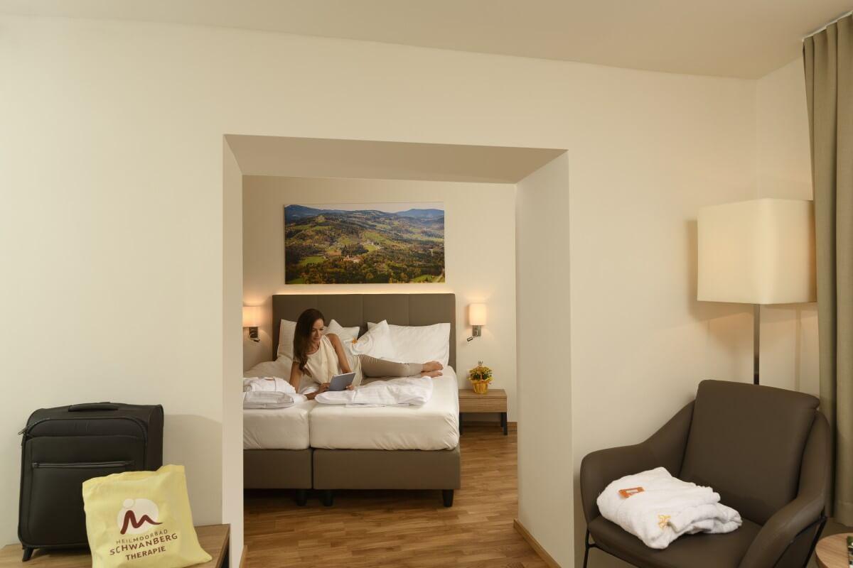 Beispielfoto eine Doppelzimmers im Kur- und Gesundheitshotel Heilmoorbad Schwanberg