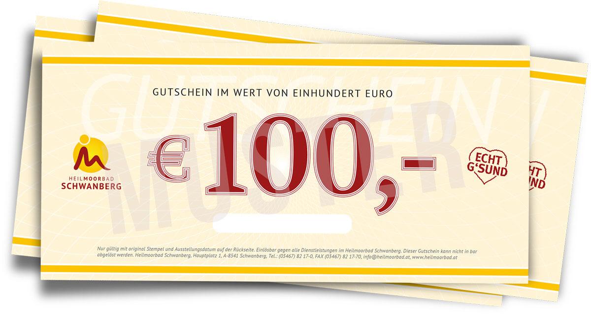 Abbildung eine Gutscheines im Wert von € 100,--