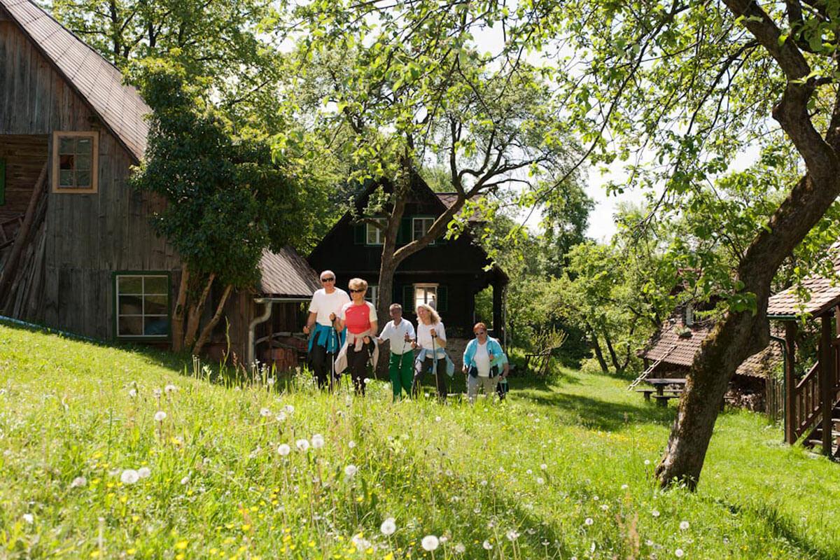 eine Gruppe von walkenden Personen entlang einer grünen Wiese mit bäuerlichen Gebäuden