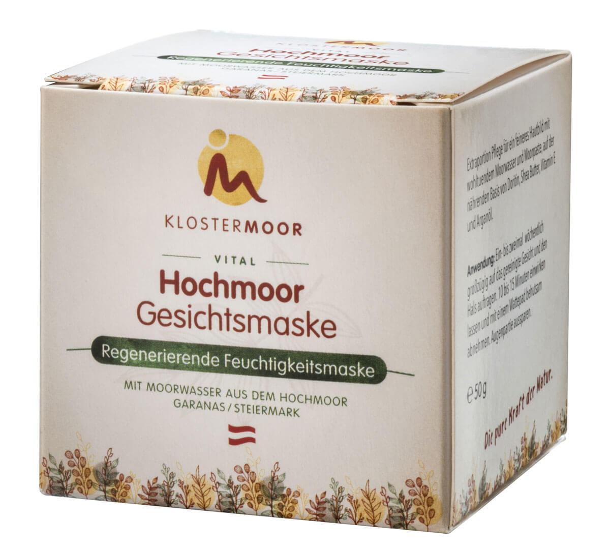 1 Karton der Hochmoor Gesichtsmaske für regenerierende Feuchtigkeitspflege