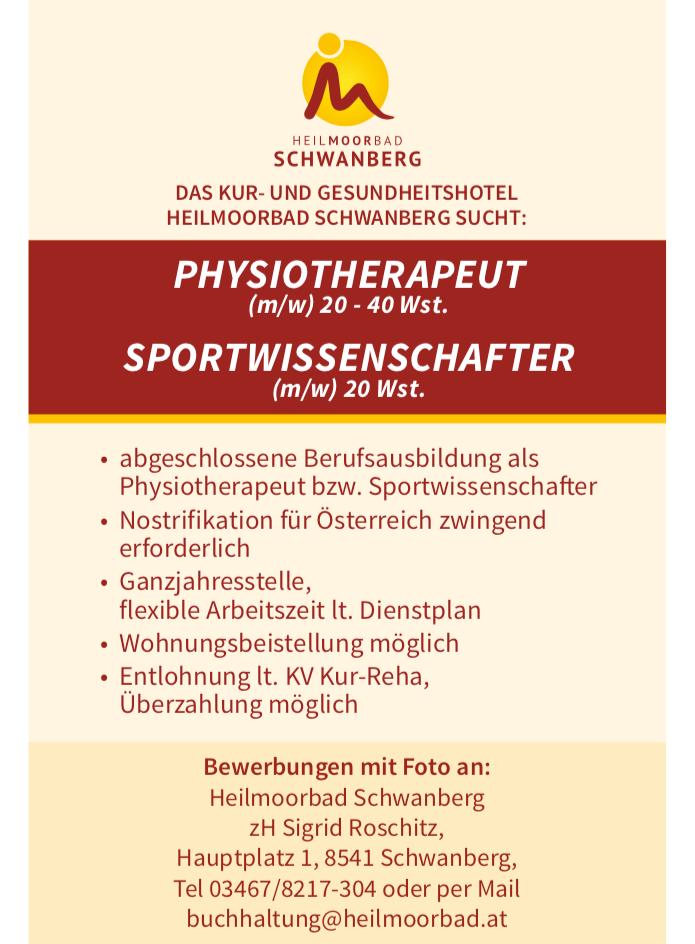 Stellenangebot Physiotherapeut und Sportwissenschafter