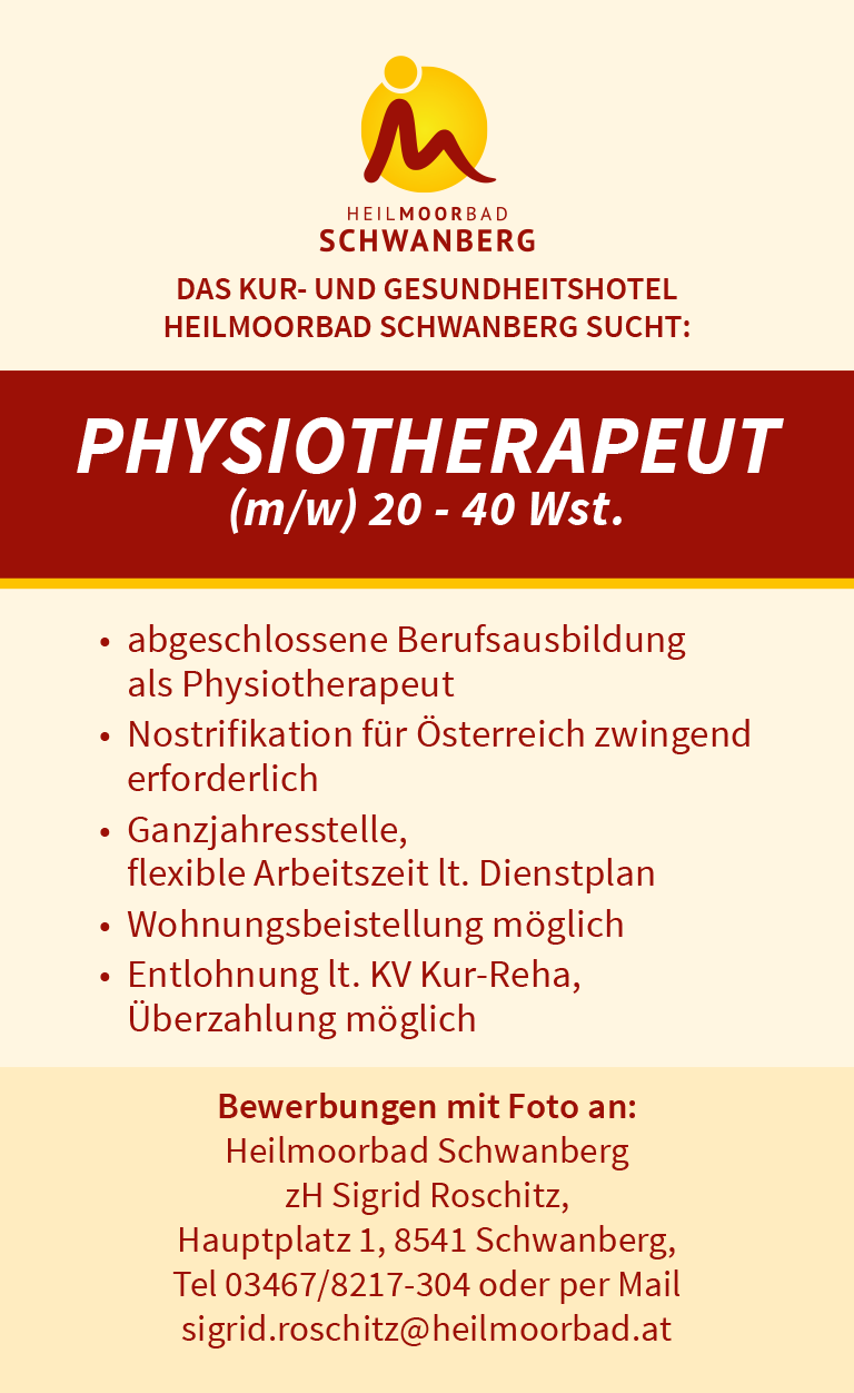 Stellenangebot Physiotherapeut