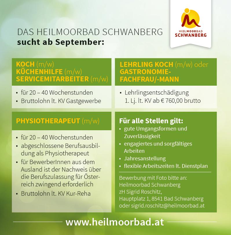 Diverse ausgeschriebene Stellen im Heilmoorbad Schwanberg